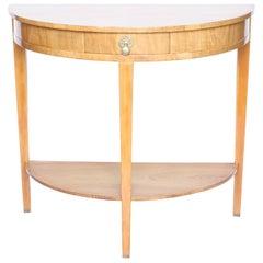 Art Deco Walnut Demilune Console Table