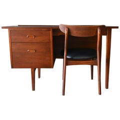 Walnut Desk by Jack Cartwright for Founders, circa 1960