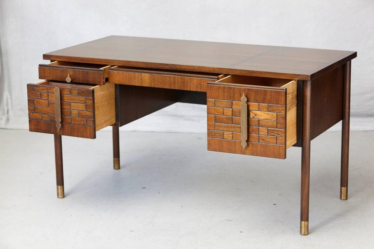 American Walnut Desk with Graphic Wood Work and Brass Hardware, 1970s For Sale