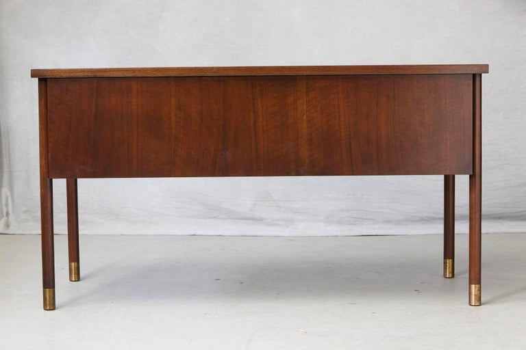 Walnut Desk with Graphic Wood Work and Brass Hardware, 1970s In Excellent Condition For Sale In Weston, CT