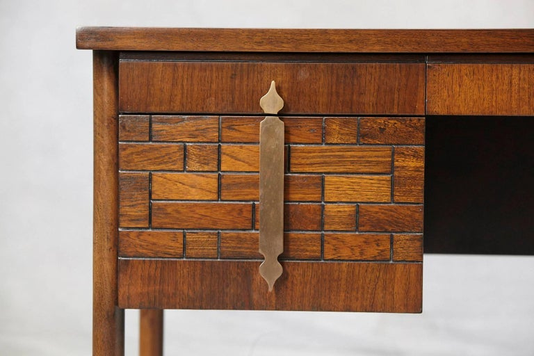 Late 20th Century Walnut Desk with Graphic Wood Work and Brass Hardware, 1970s For Sale