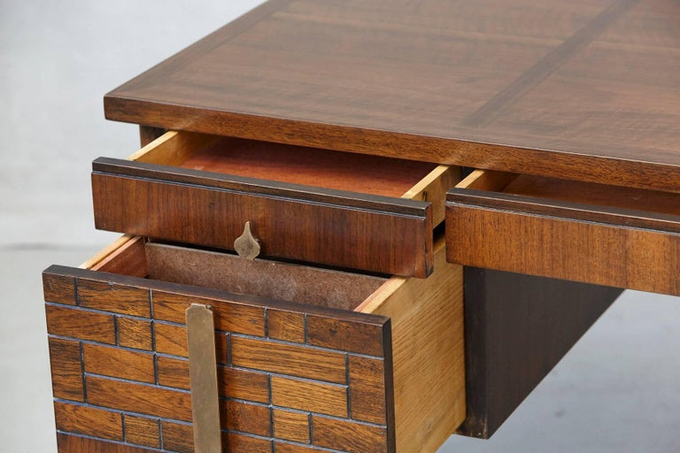 Walnut Desk with Graphic Wood Work and Brass Hardware, 1970s For Sale 2