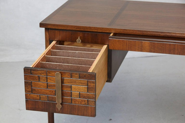 Walnut Desk with Graphic Wood Work and Brass Hardware, 1970s For Sale 3