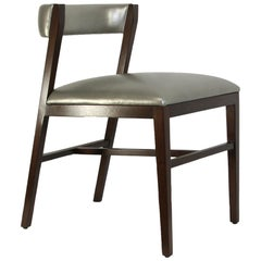 Walnut Dining Chair with leather upholstery in Black or Brown Leather