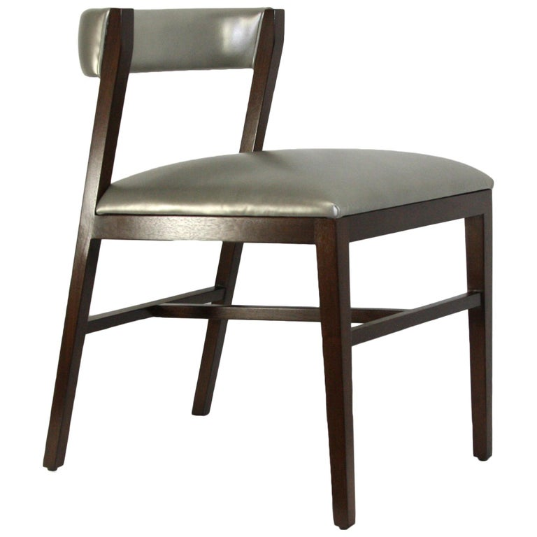 Walnut Dining Chair with leather upholstery in Black or Brown Leather For Sale