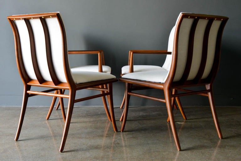 Mid-Century Modern Walnut Dining Chairs by T.H. Robsjohn-Gibbings for Widdicomb, ca. 1960 For Sale
