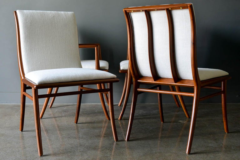 Mid-20th Century Walnut Dining Chairs by T.H. Robsjohn-Gibbings for Widdicomb, ca. 1960 For Sale