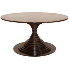 Walnut Dining Table with Stacked Discs