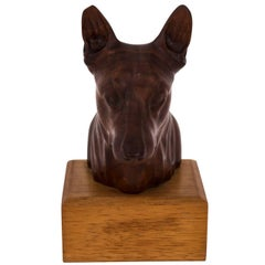 Walnut Dog Sculpture by Art Richolte, circa 1940