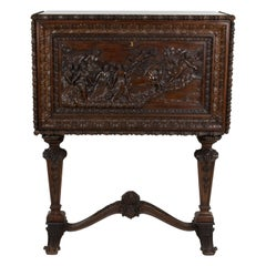 """Walnut Dry Bar Cabinet Carved by Hand Depicting the """"Aurora"""" by Guido Reni"""