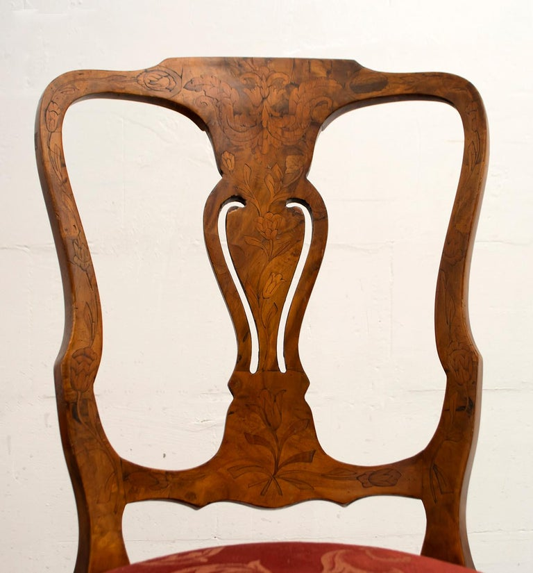 Walnut Dutch Chairs of the 20th Century with Maple Wood Inlays, Netherlands For Sale 6