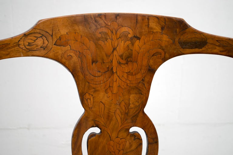 Walnut Dutch Chairs of the 20th Century with Maple Wood Inlays, Netherlands For Sale 7