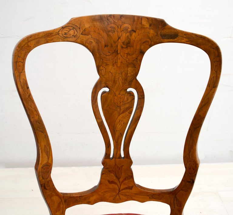 Walnut Dutch Chairs of the 20th Century with Maple Wood Inlays, Netherlands For Sale 8