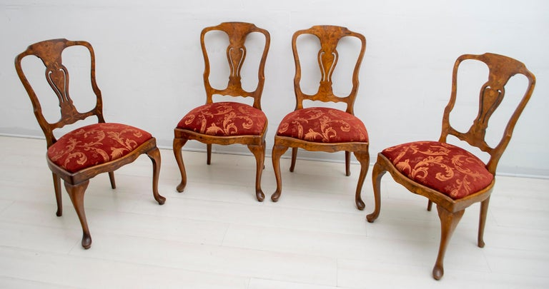 Dutch Colonial Walnut Dutch Chairs of the 20th Century with Maple Wood Inlays, Netherlands For Sale