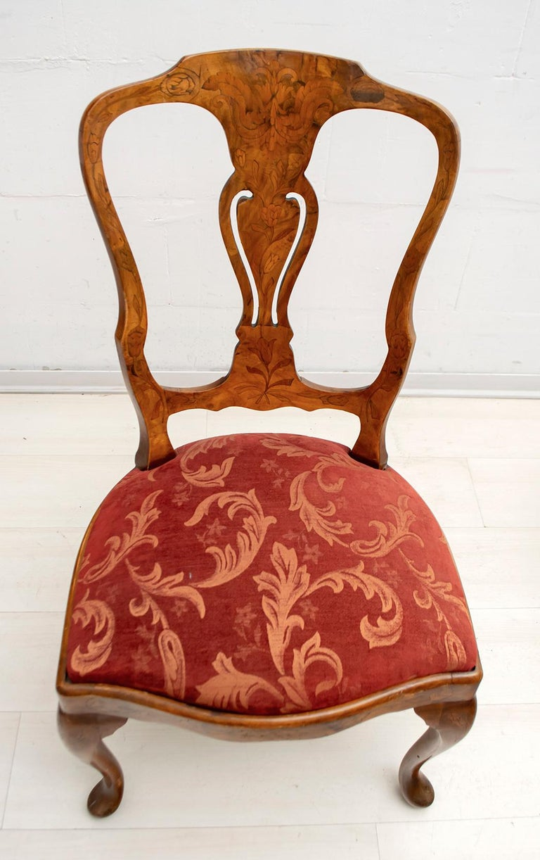 Walnut Dutch Chairs of the 20th Century with Maple Wood Inlays, Netherlands For Sale 2