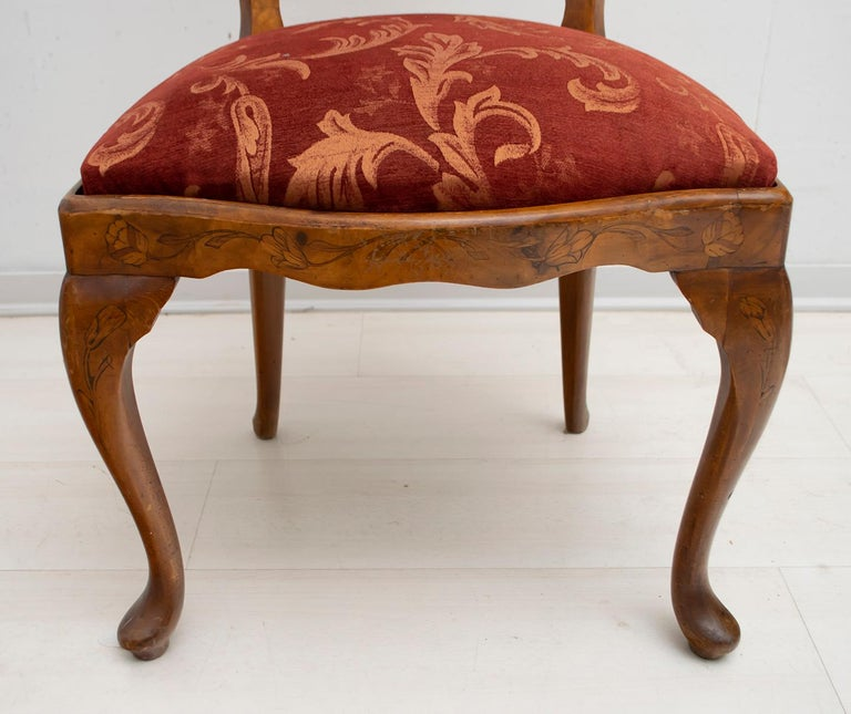 Walnut Dutch Chairs of the 20th Century with Maple Wood Inlays, Netherlands For Sale 3