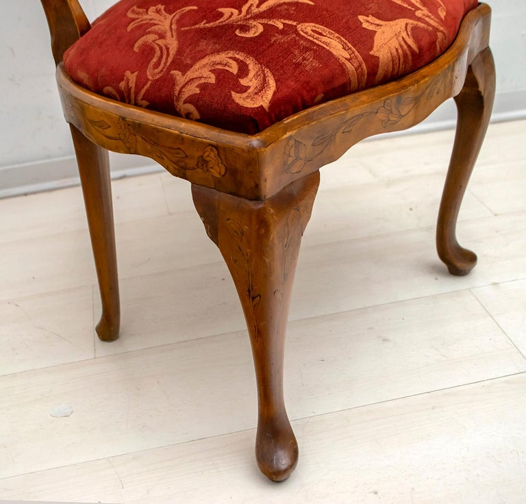 Walnut Dutch Chairs of the 20th Century with Maple Wood Inlays, Netherlands For Sale 4