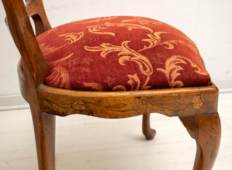Walnut Dutch Chairs of the 20th Century with Maple Wood Inlays, Netherlands For Sale 5