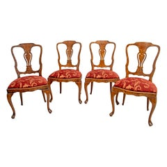 Walnut Dutch Chairs of the 20th Century with Maple Wood Inlays, Netherlands