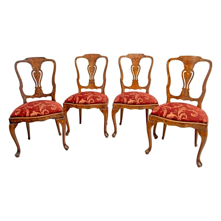 Walnut Dutch Chairs of the 20th Century with Maple Wood Inlays, Netherlands For Sale