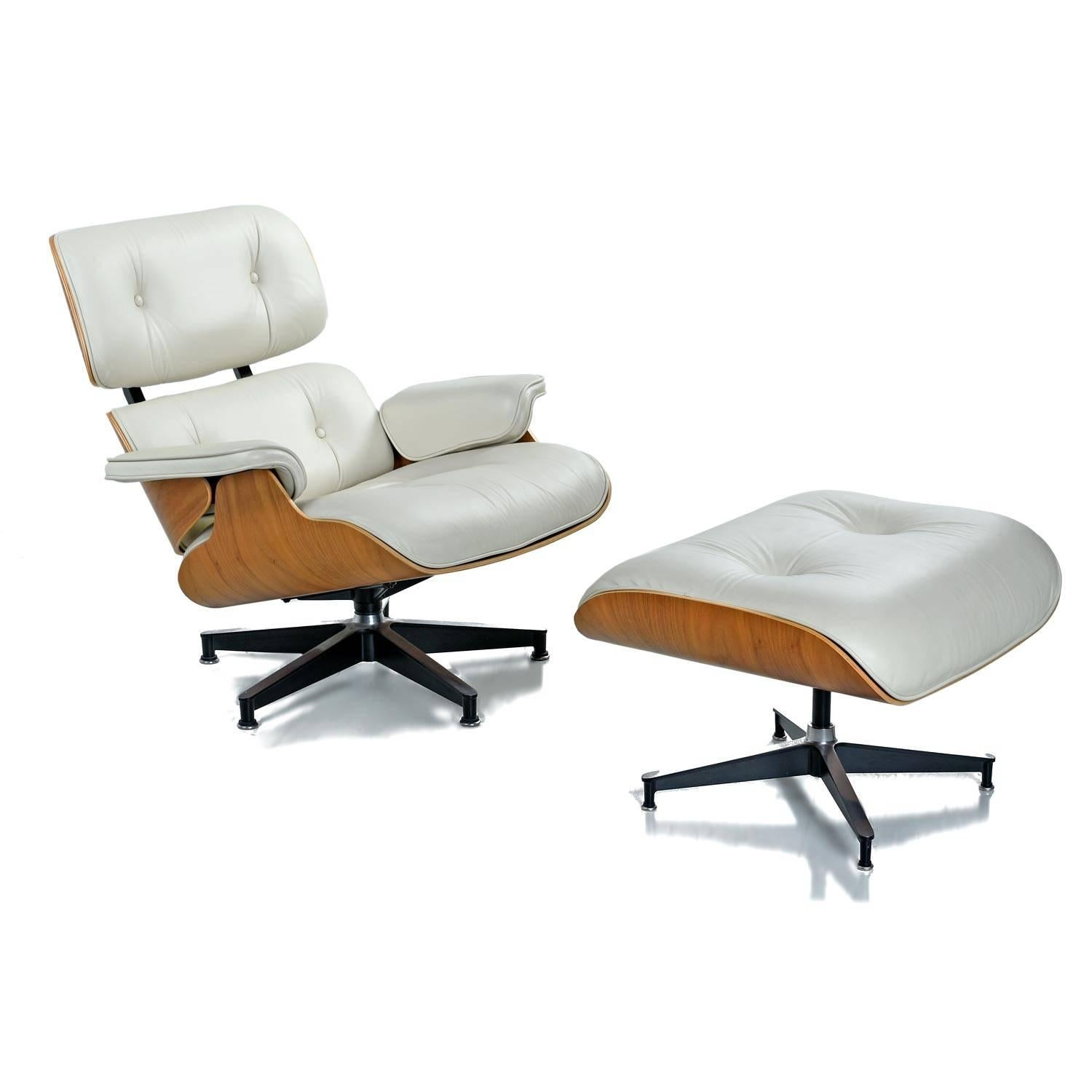 Beau Iconic Mid Century Modern Herman Miller Eames Chair. Ivory Genuine Leather  With Walnut Shell
