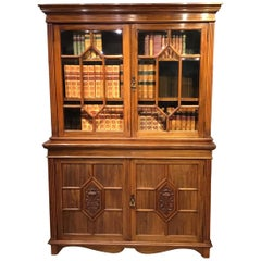 Walnut Edwardian Bookcase by Maple & Co. of London