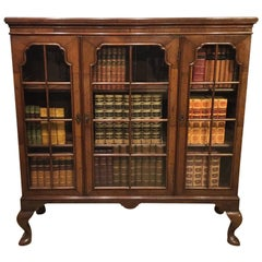 Walnut Edwardian Period Three Door Bookcase in the Georgian Style