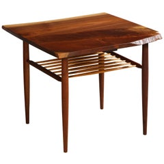 Walnut End Table with a Spindle Shelf, by George Nakashima