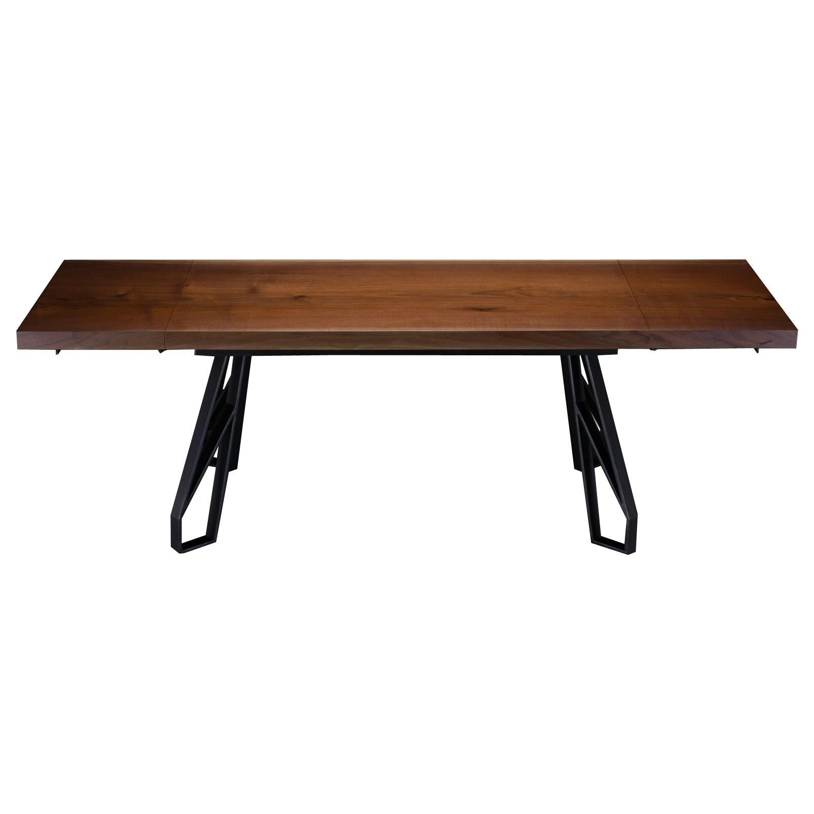 "Walnut Expanding Dining Table with Black Steel Legs ""Chalmers Dining Table"""