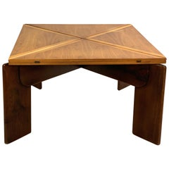 Walnut Extension Square Dinning Table by Silvio Coppola