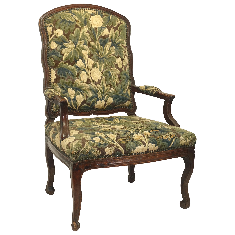Walnut Fauteuil Armchair, Italian, 18th Century