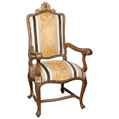 Walnut Fauteuil or Armchair with Contemporary Upholstery, 18th Century and Later