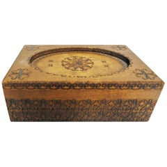 Walnut Finish Box with Hand Carved Foliate Detail, Vintage