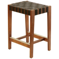 Walnut Finish Maple Bar Stool with Charcoal Woven Seat by Peter Danko