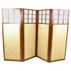 Walnut Folding Screen, Room Divider Screen, 4 Panels, 1890, Antique, B1266