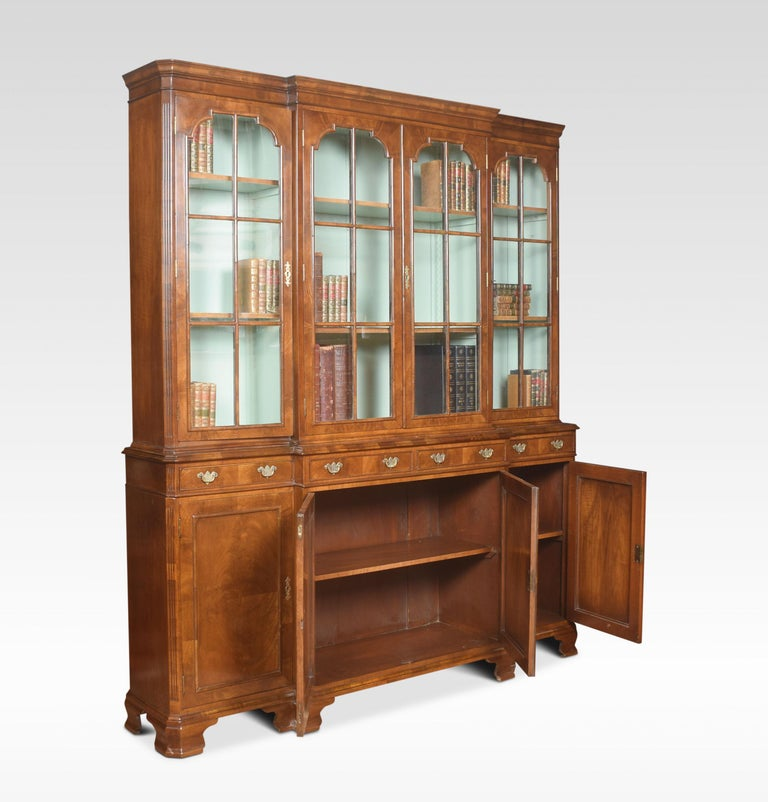 20th Century Walnut Four Door Breakfront Bookcase For Sale