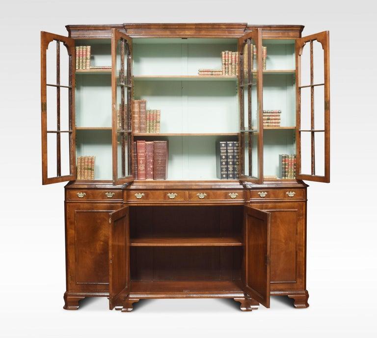 Walnut Four Door Breakfront Bookcase For Sale 1