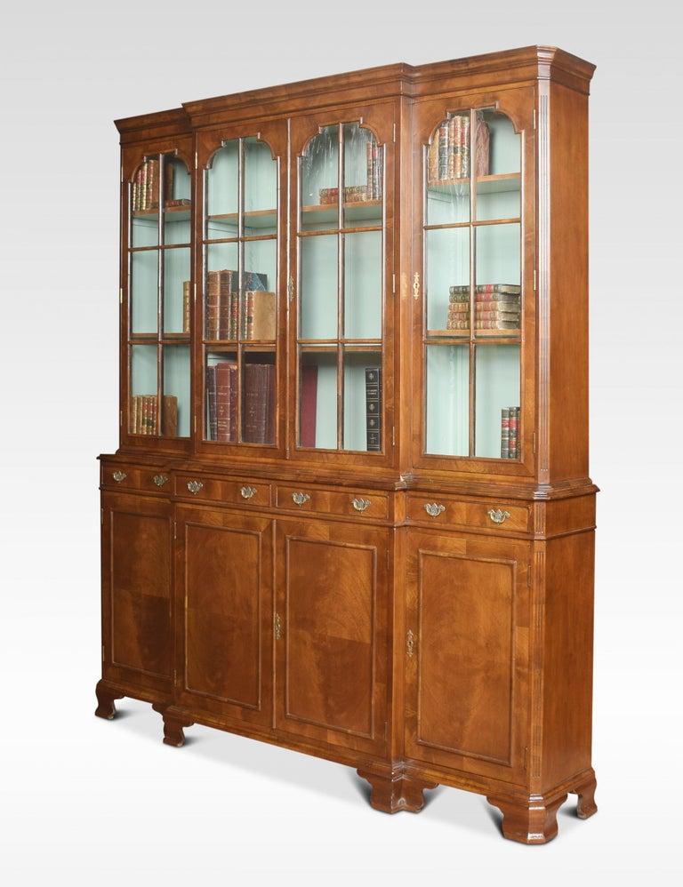 Walnut Four Door Breakfront Bookcase For Sale 2