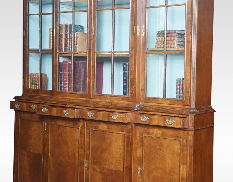 Walnut Four Door Breakfront Bookcase For Sale 3