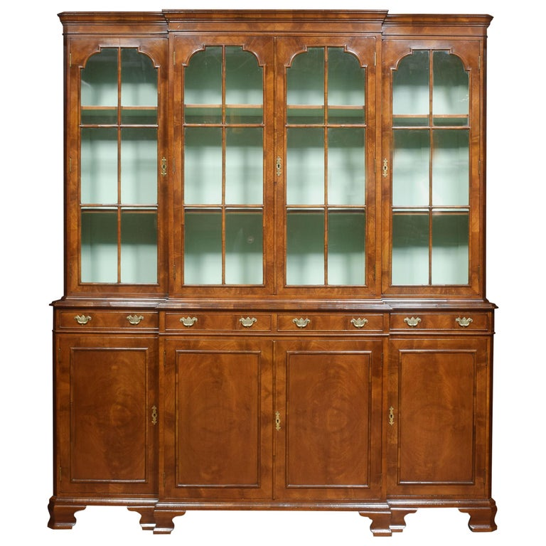 Walnut Four Door Breakfront Bookcase For Sale