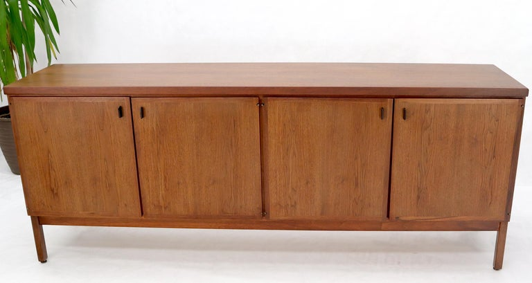 Walnut Four Doors Compartment Long Credenza For Sale 4