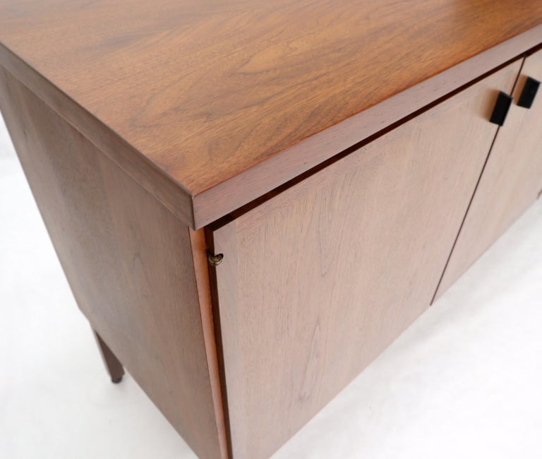Walnut Four Doors Compartment Long Credenza For Sale 5