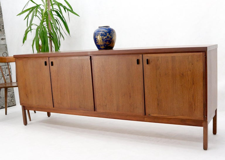 Walnut Four Doors Compartment Long Credenza For Sale 11