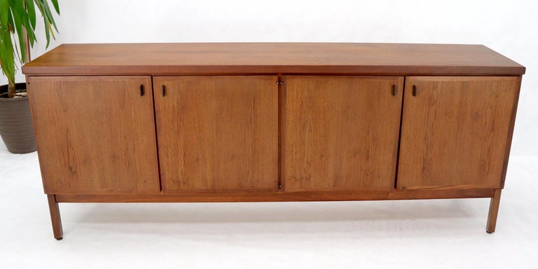 Mid-Century Modern Walnut Four Doors Compartment Long Credenza For Sale