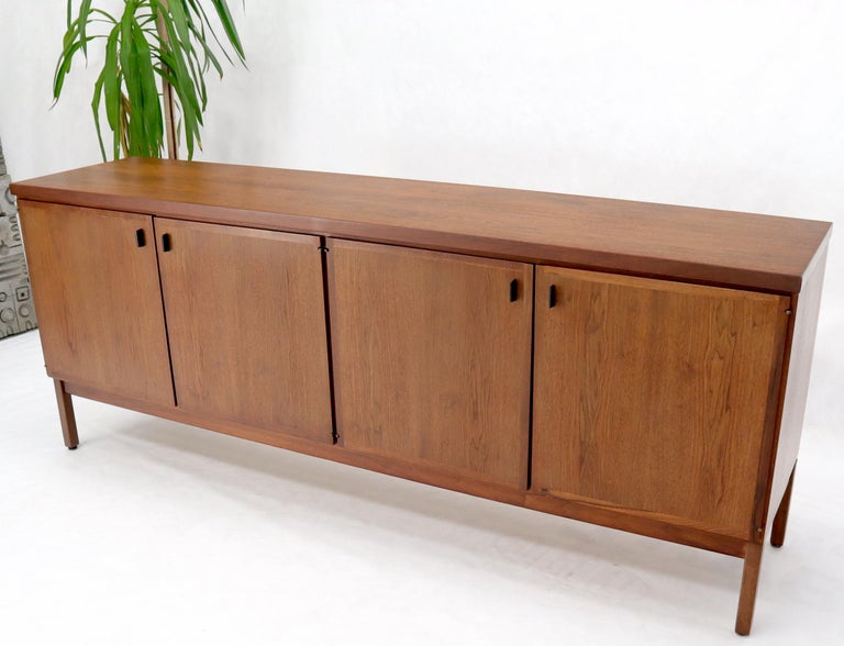 American Walnut Four Doors Compartment Long Credenza For Sale
