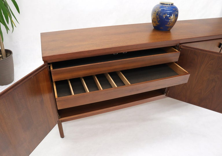 Oiled Walnut Four Doors Compartment Long Credenza For Sale