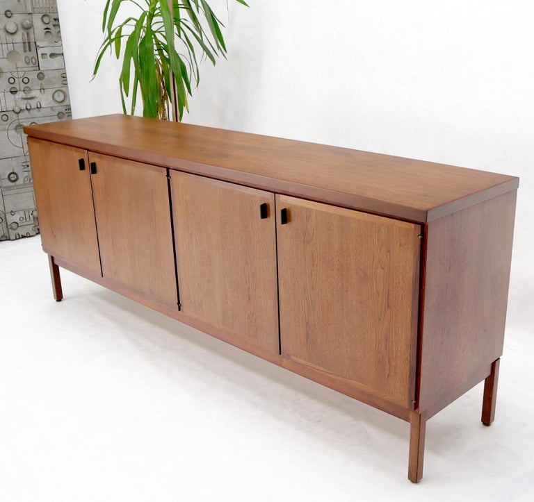 Walnut Four Doors Compartment Long Credenza In Excellent Condition For Sale In Rockaway, NJ