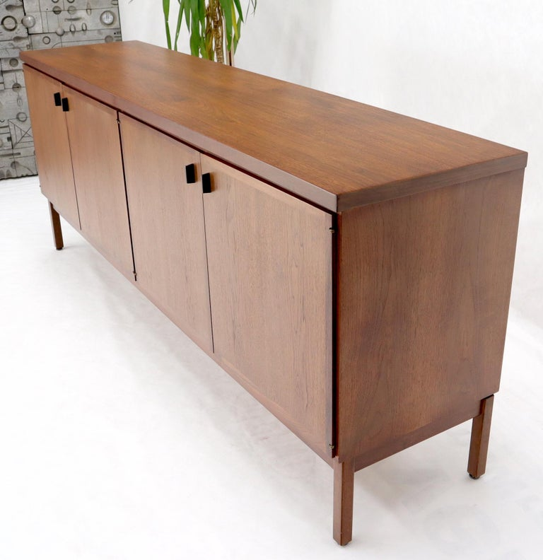 20th Century Walnut Four Doors Compartment Long Credenza For Sale