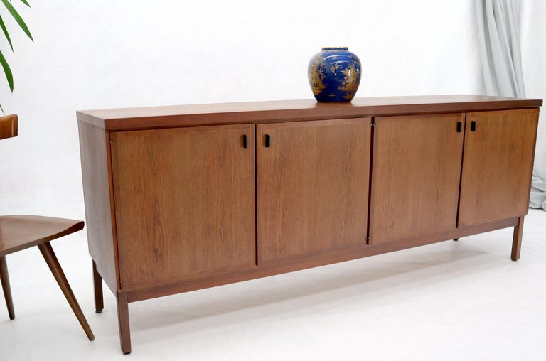 Walnut Four Doors Compartment Long Credenza For Sale 1