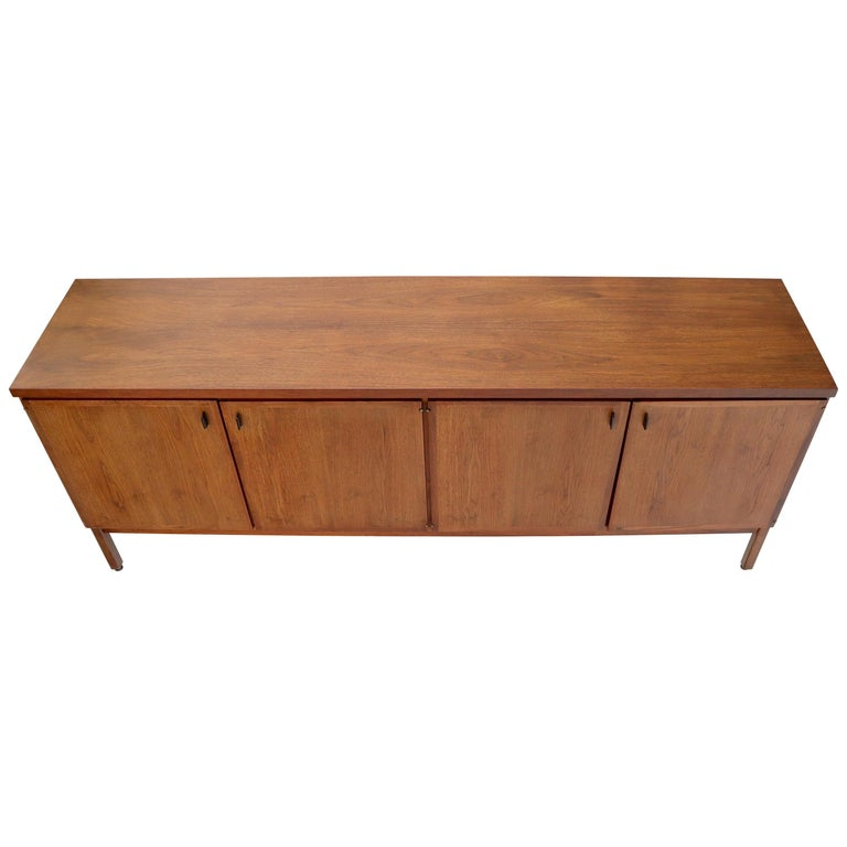 Walnut Four Doors Compartment Long Credenza For Sale